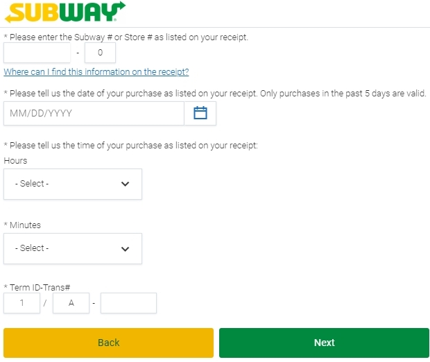 Global.Subway.Com survey page