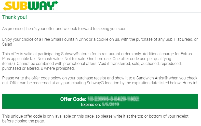 SubwayListens offer code