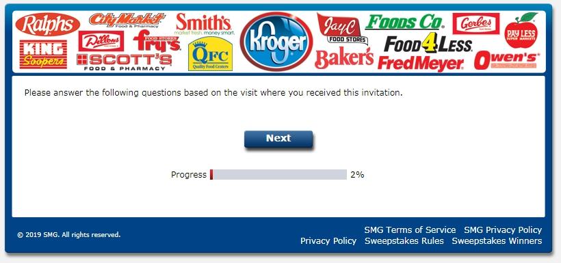 Krogerexperience.com survey step 1