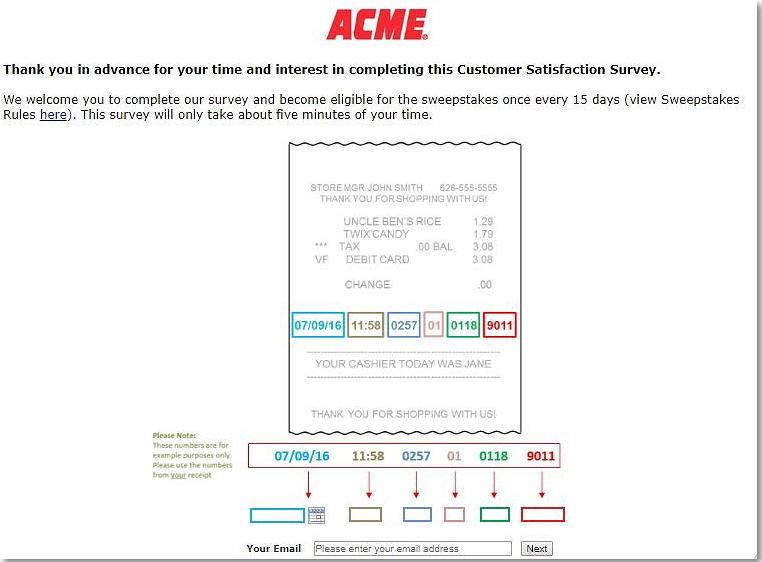 acmemarketssurvey homepage