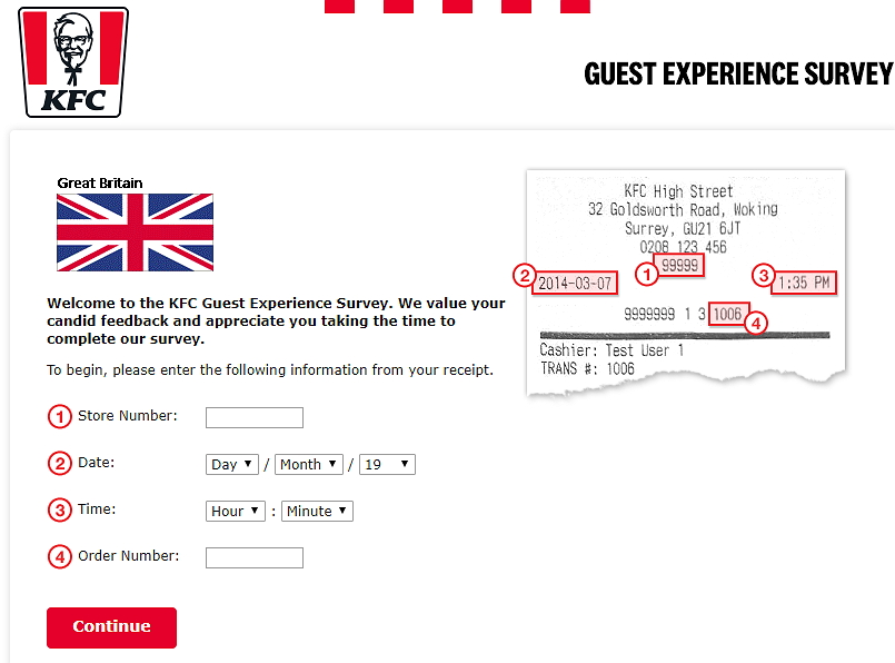 kfc britain survey homepage