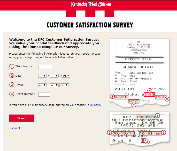 kfc survey without survey code