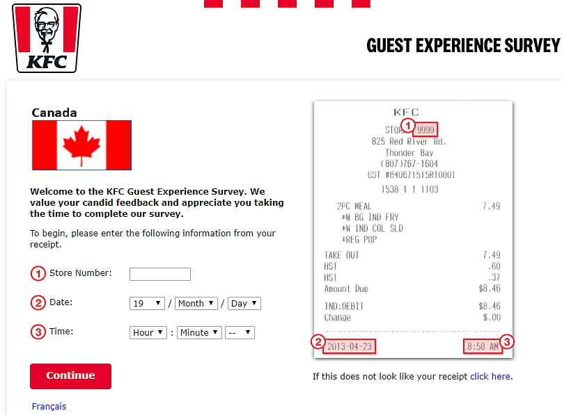 KFC Canada Survey Homepage