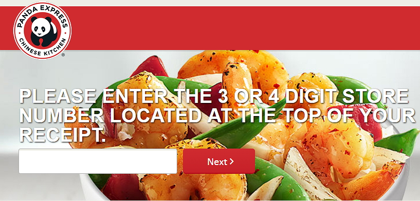 panda express survey page with store number