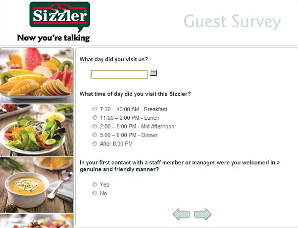 Sizzler Survey Homepage