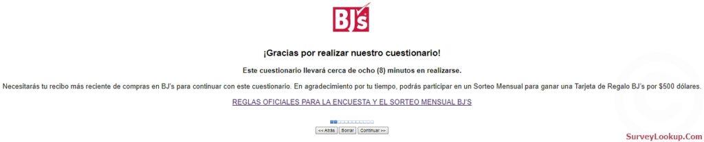 homepage of Www.bjs.com/feedback en español