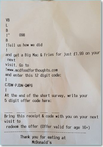 McDFoodForThoughts enter code on receipt