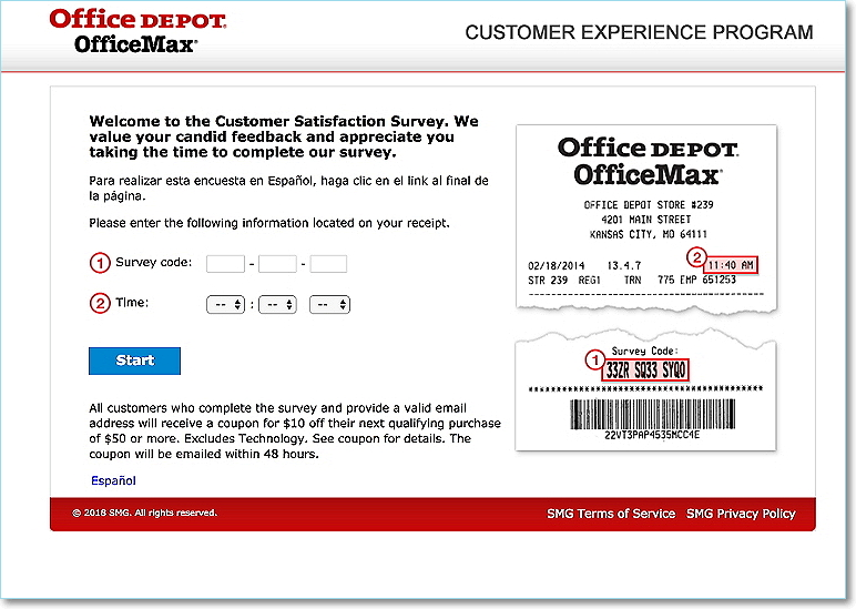 www.officedepot.com/feedback homepage