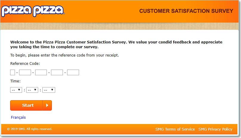 Pizzapizzasurvey.ca homepage